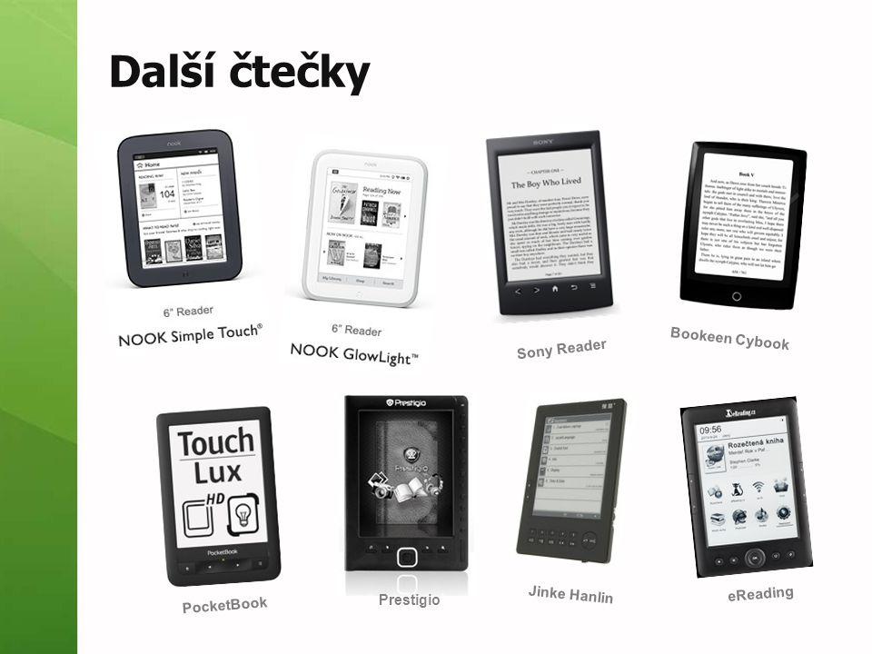 Další čtečky Sony Reader Bookeen Cybook PocketBook Prestigio Jinke Hanlin eReading