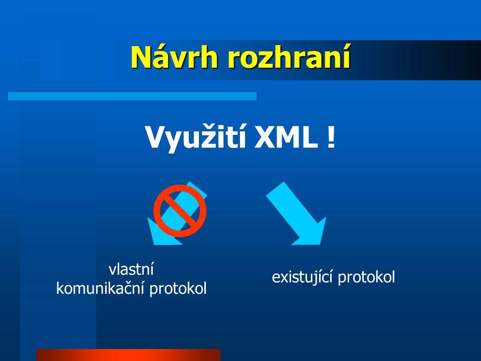 Návrh rozhraní existující protokol Využití XML ! vlastní komunikační protokol