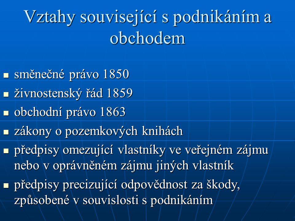 Vztahy související s podnikáním a obchodem směnečné právo 1850 směnečné právo 1850 živnostenský řád 1859 živnostenský řád 1859 obchodní právo 1863 obc
