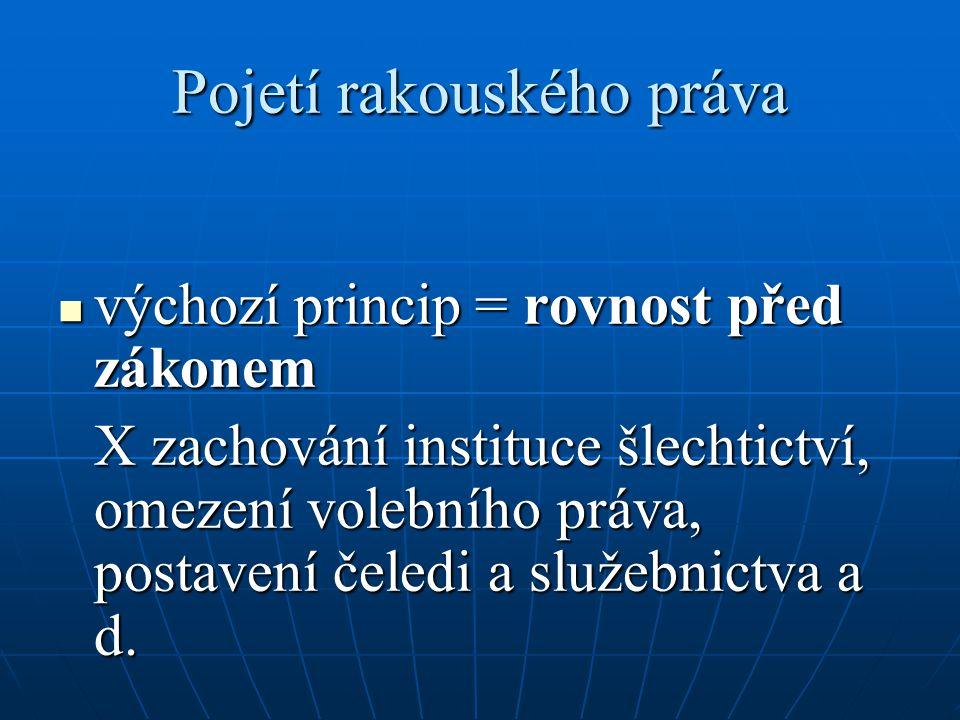 Pojetí rakouského práva výchozí princip = rovnost před zákonem výchozí princip = rovnost před zákonem X zachování instituce šlechtictví, omezení voleb