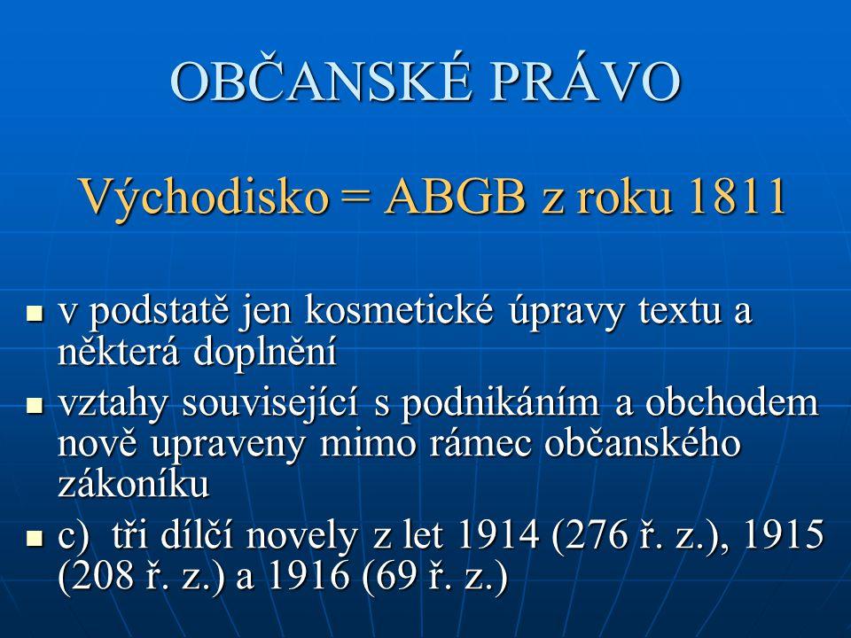 OBČANSKÉ PRÁVO Východisko = ABGB z roku 1811 v podstatě jen kosmetické úpravy textu a některá doplnění v podstatě jen kosmetické úpravy textu a někter