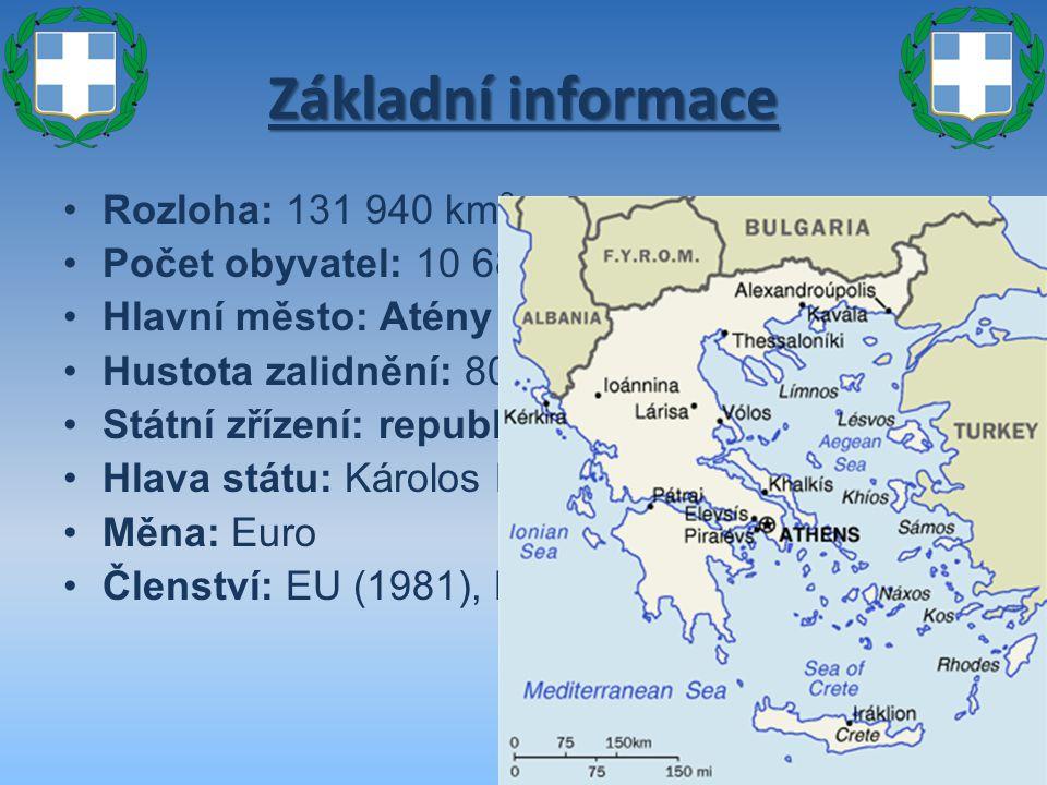 Základní informace Rozloha: 131 940 km 2 Počet obyvatel: 10 688 058 (2006) Hlavní město: Atény Hustota zalidnění: 80 obyv./km 2 Státní zřízení: republ