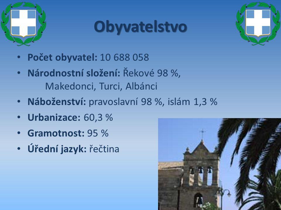 Obyvatelstvo Počet obyvatel: 10 688 058 Národnostní složení: Řekové 98 %, Makedonci, Turci, Albánci Náboženství: pravoslavní 98 %, islám 1,3 % Urbaniz