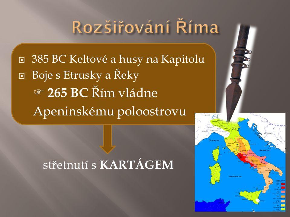  385 BC Keltové a husy na Kapitolu  Boje s Etrusky a Řeky  265 BC Řím vládne Apeninskému poloostrovu střetnutí s KARTÁGEM