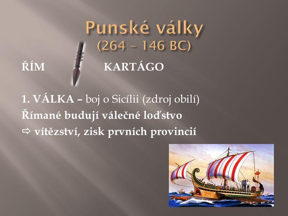 ŘÍMKARTÁGO 1. VÁLKA – boj o Sicílii (zdroj obilí) Římané budují válečné loďstvo  vítězství, zisk prvních provincií