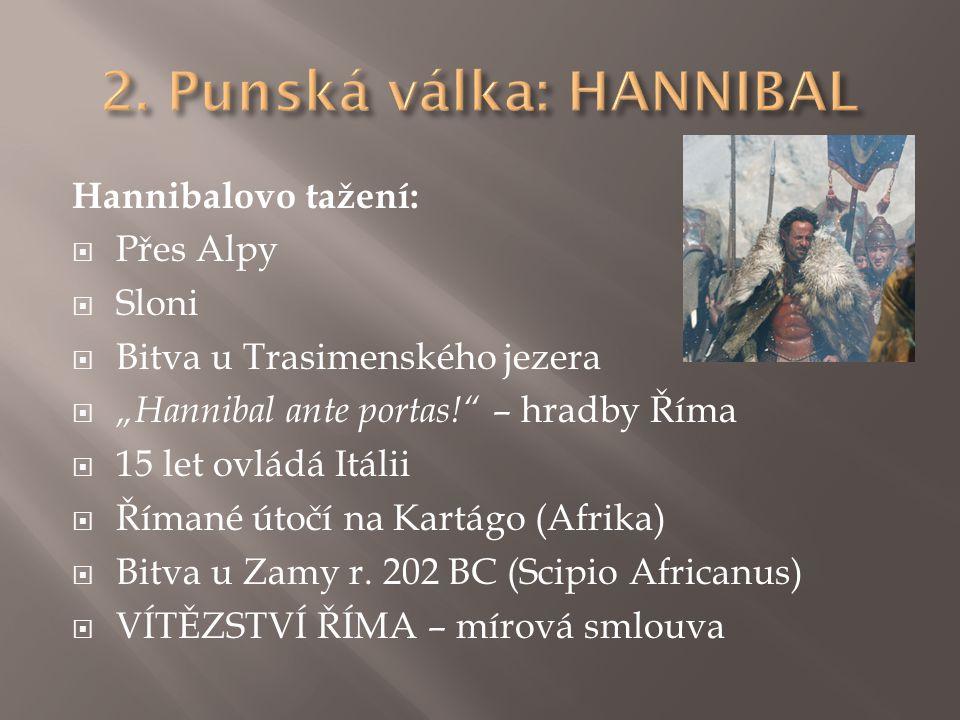 "Hannibalovo tažení:  Přes Alpy  Sloni  Bitva u Trasimenského jezera  ""Hannibal ante portas!"" – hradby Říma  15 let ovládá Itálii  Římané útočí n"