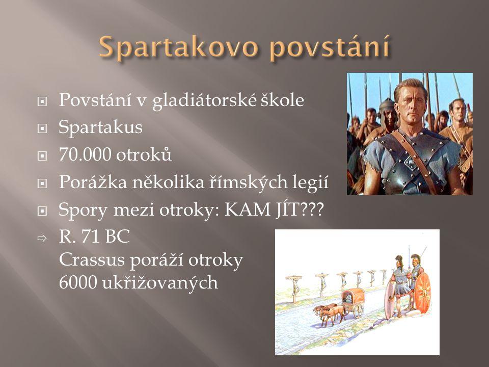  Povstání v gladiátorské škole  Spartakus  70.000 otroků  Porážka několika římských legií  Spory mezi otroky: KAM JÍT???  R. 71 BC Crassus poráž