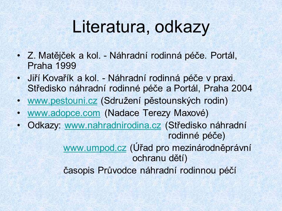 Literatura, odkazy Z. Matějček a kol. - Náhradní rodinná péče. Portál, Praha 1999 Jiří Kovařík a kol. - Náhradní rodinná péče v praxi. Středisko náhra