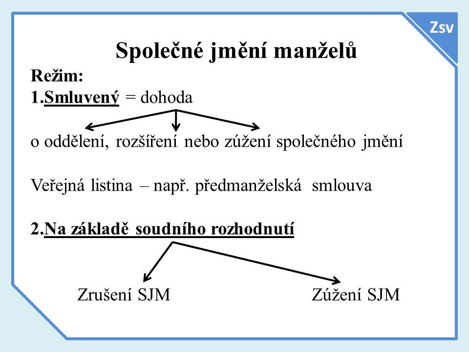 Zsv Společné jmění manželů Režim: 1.Smluvený = dohoda o oddělení, rozšíření nebo zúžení společného jmění Veřejná listina – např.