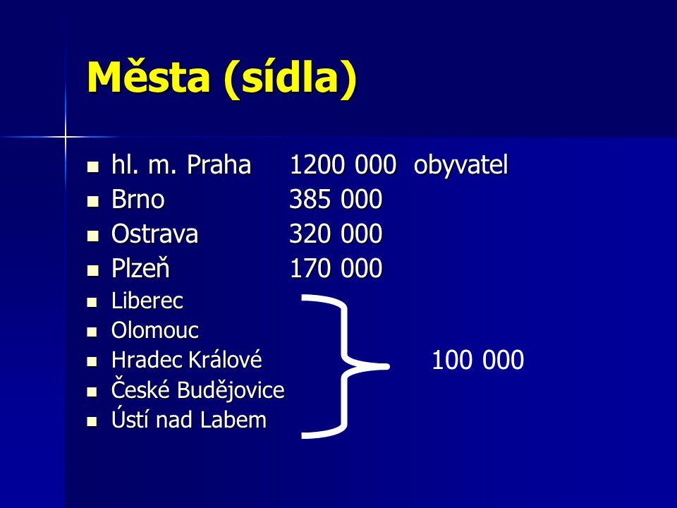 Města (sídla) hl. m. Praha 1200 000 obyvatel hl.