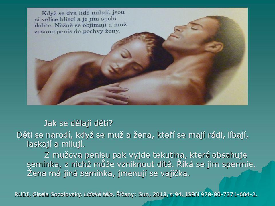 Jak se dělají děti? Děti se narodí, když se muž a žena, kteří se mají rádi, líbají, laskají a milují. Z mužova penisu pak vyjde tekutina, která obsahu