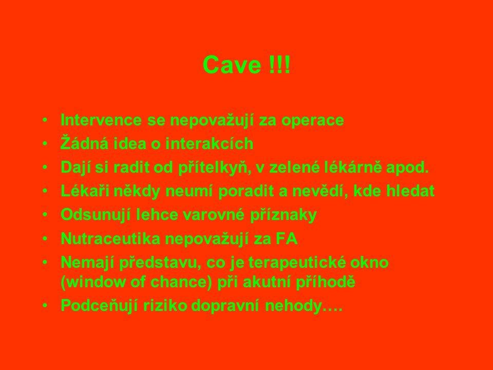 Cave !!! Intervence se nepovažují za operace Žádná idea o interakcích Dají si radit od přítelkyň, v zelené lékárně apod. Lékaři někdy neumí poradit a