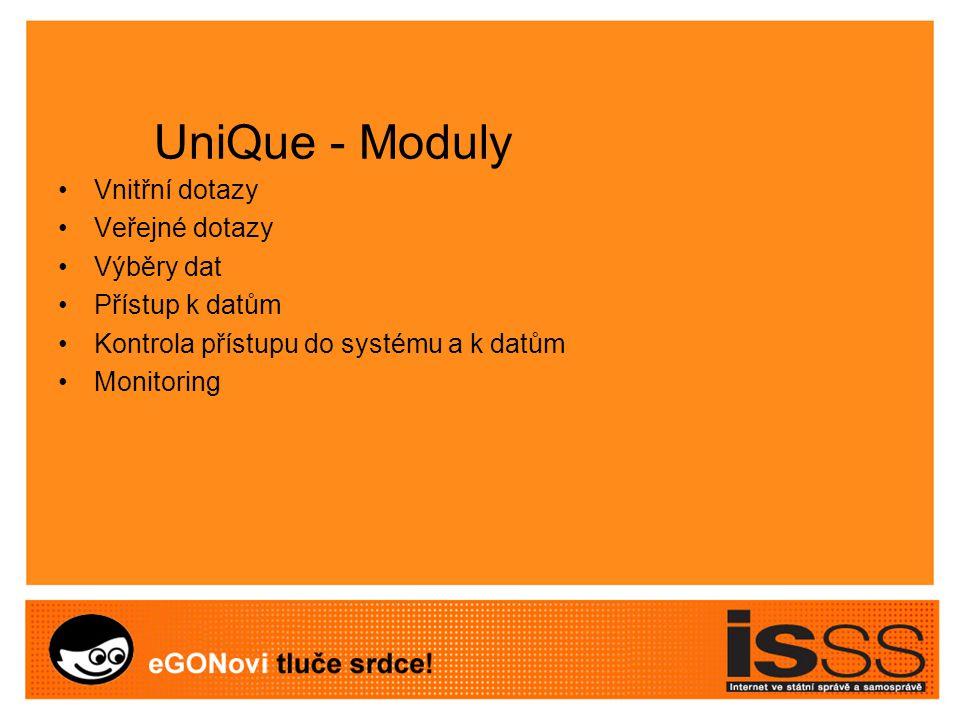 UniQue - Moduly Vnitřní dotazy Veřejné dotazy Výběry dat Přístup k datům Kontrola přístupu do systému a k datům Monitoring