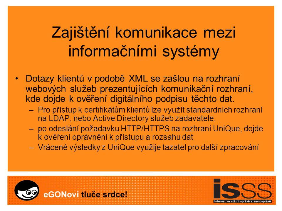 Zajištění komunikace mezi informačními systémy Dotazy klientů v podobě XML se zašlou na rozhraní webových služeb prezentujících komunikační rozhraní, kde dojde k ověření digitálního podpisu těchto dat.
