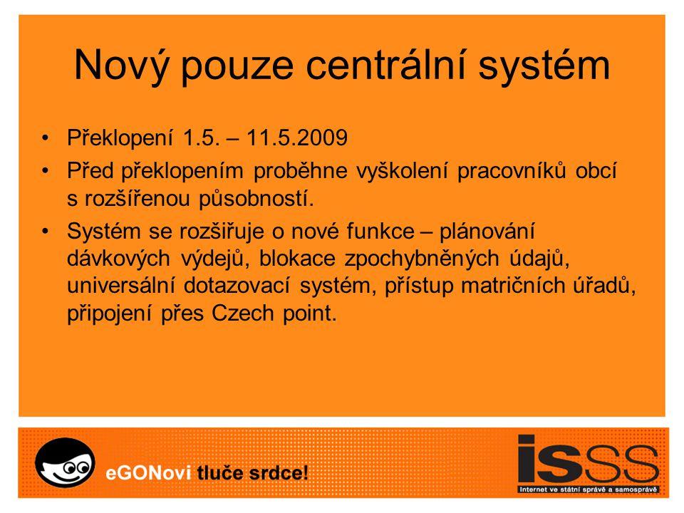 Nový pouze centrální systém Překlopení 1.5.