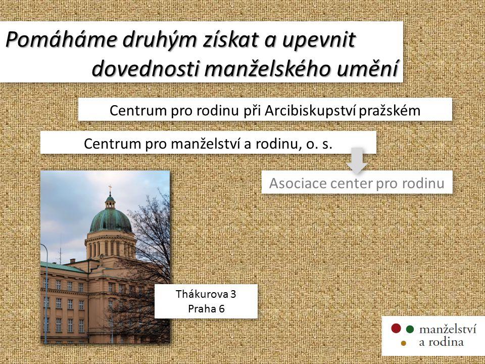 Pomáháme druhým získat a upevnit dovednosti manželského umění Pomáháme druhým získat a upevnit dovednosti manželského umění Centrum pro rodinu při Arcibiskupství pražském Centrum pro manželství a rodinu, o.