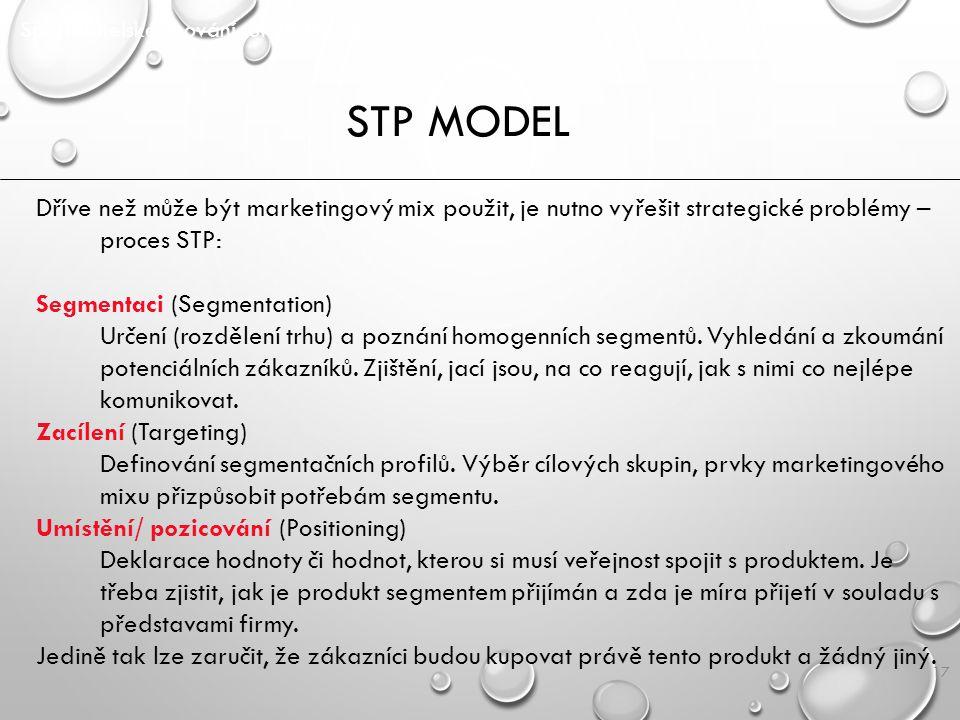 17 STP MODEL Spotřebitelské chování SPOCH/ P2 Dříve než může být marketingový mix použit, je nutno vyřešit strategické problémy – proces STP: Segmenta