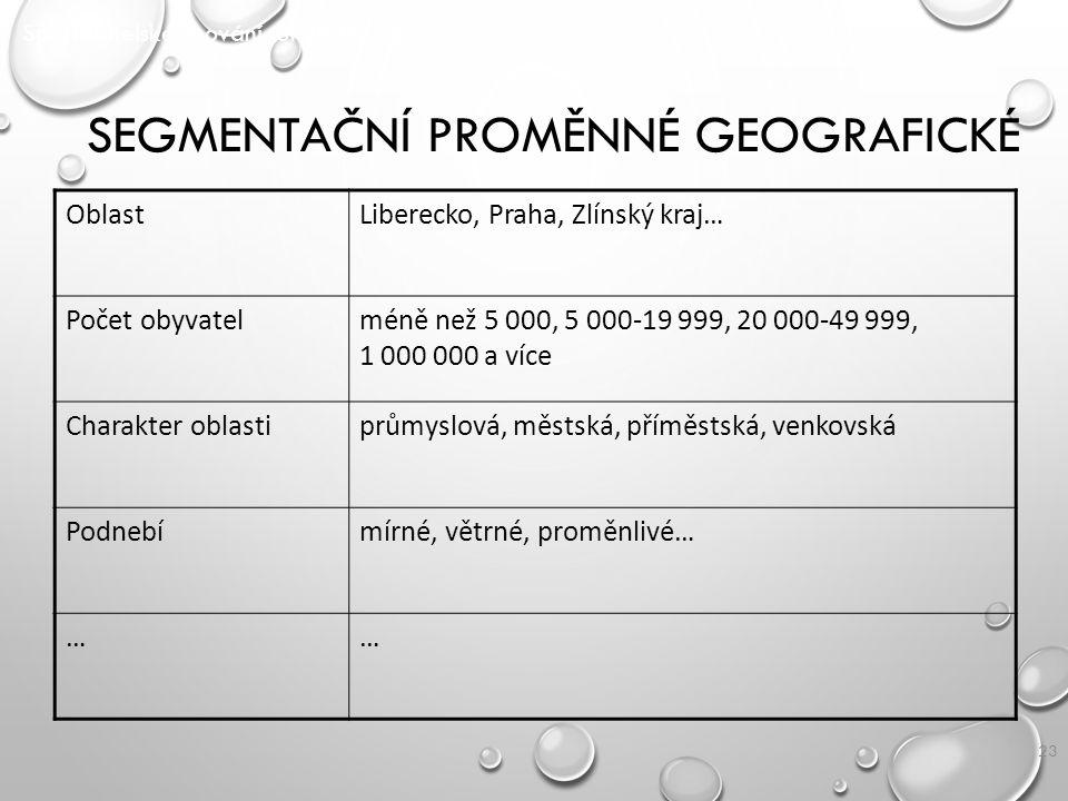 23 SEGMENTAČNÍ PROMĚNNÉ GEOGRAFICKÉ Spotřebitelské chování SPOCH/ P2 OblastLiberecko, Praha, Zlínský kraj… Počet obyvatelméně než 5 000, 5 000-19 999,