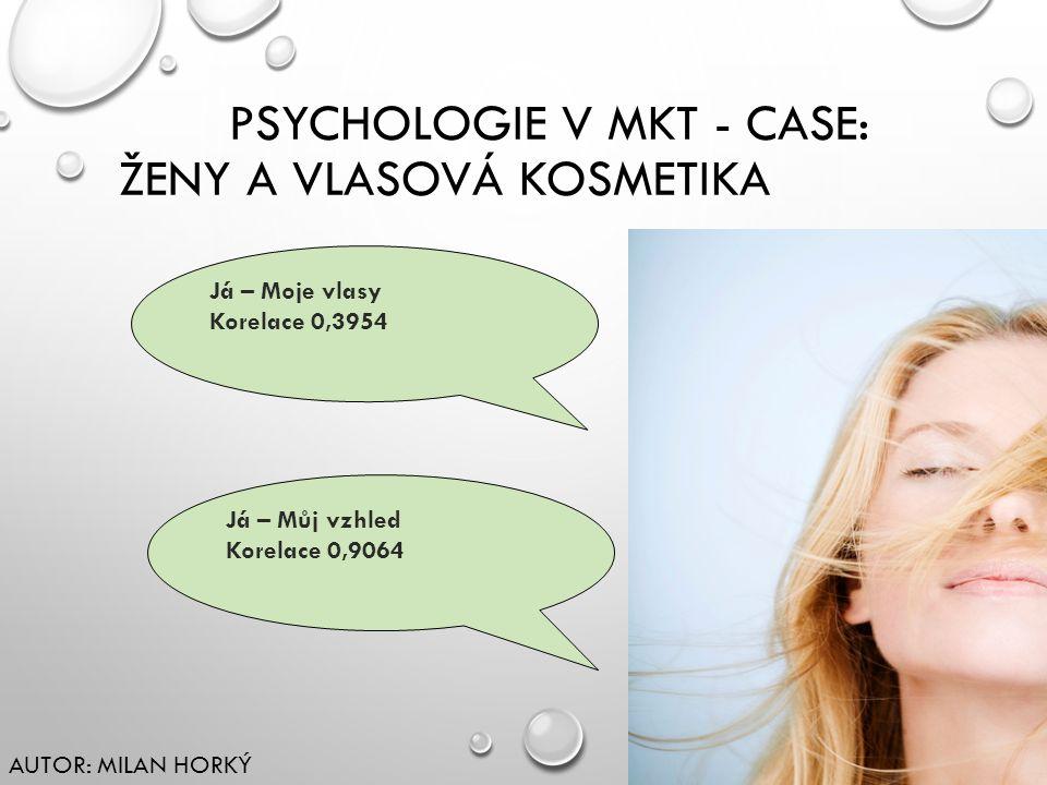 PSYCHOLOGIE V MKT - CASE: ŽENY A VLASOVÁ KOSMETIKA Já – Moje vlasy Korelace 0,3954 Já – Můj vzhled Korelace 0,9064 AUTOR: MILAN HORKÝ