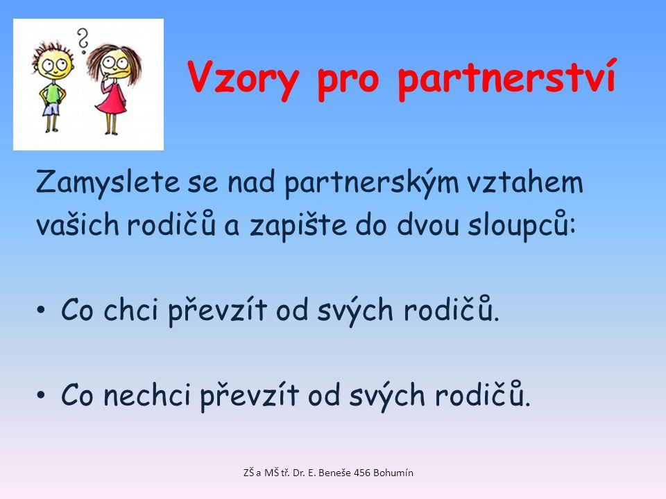 Vzory pro partnerství Zamyslete se nad partnerským vztahem vašich rodičů a zapište do dvou sloupců: Co chci převzít od svých rodičů. Co nechci převzít