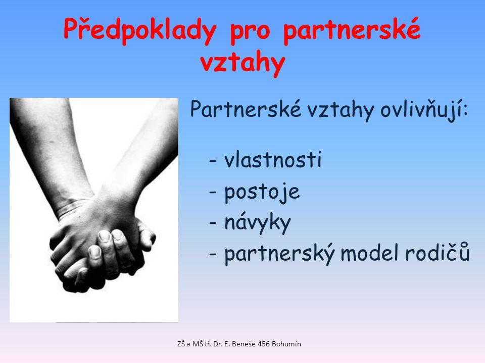 Předpoklady pro partnerské vztahy Partnerské vztahy ovlivňují: - vlastnosti - postoje - návyky - partnerský model rodičů ZŠ a MŠ tř. Dr. E. Beneše 456