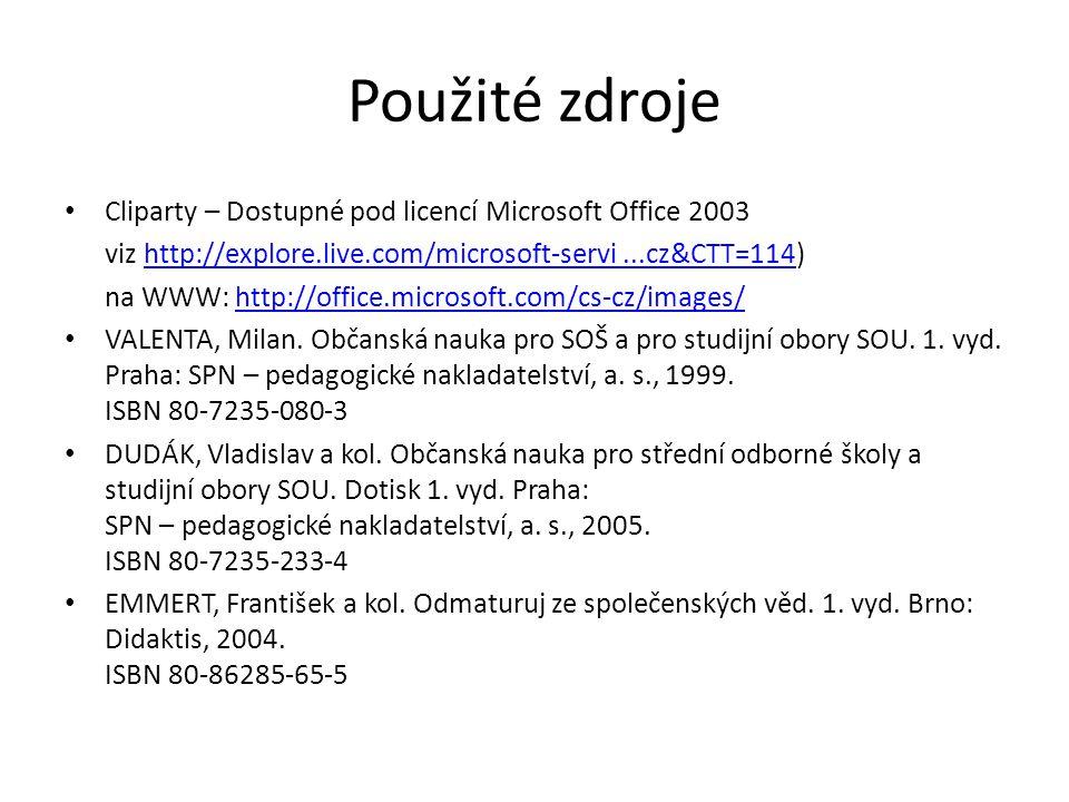 Použité zdroje Cliparty – Dostupné pod licencí Microsoft Office 2003 viz http://explore.live.com/microsoft-servi...cz&CTT=114)http://explore.live.com/microsoft-servi...cz&CTT=114 na WWW: http://office.microsoft.com/cs-cz/images/http://office.microsoft.com/cs-cz/images/ VALENTA, Milan.