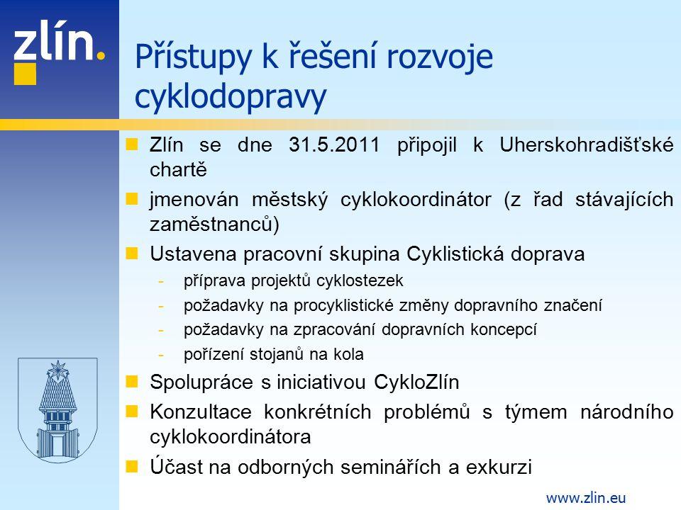 www.zlin.eu Zlín se dne 31.5.2011 připojil k Uherskohradišťské chartě jmenován městský cyklokoordinátor (z řad stávajících zaměstnanců) Ustavena praco