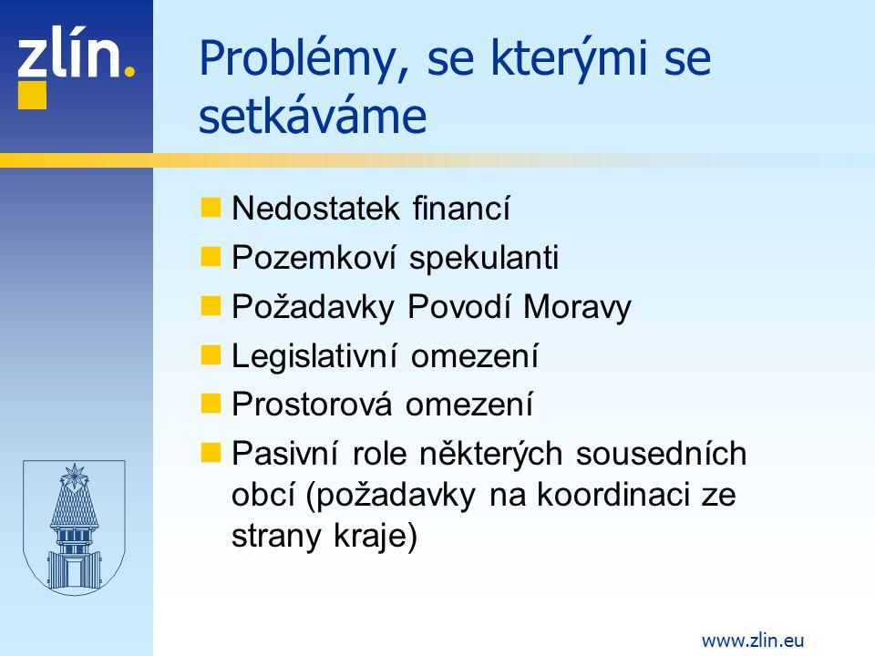 www.zlin.eu Problémy, se kterými se setkáváme Nedostatek financí Pozemkoví spekulanti Požadavky Povodí Moravy Legislativní omezení Prostorová omezení