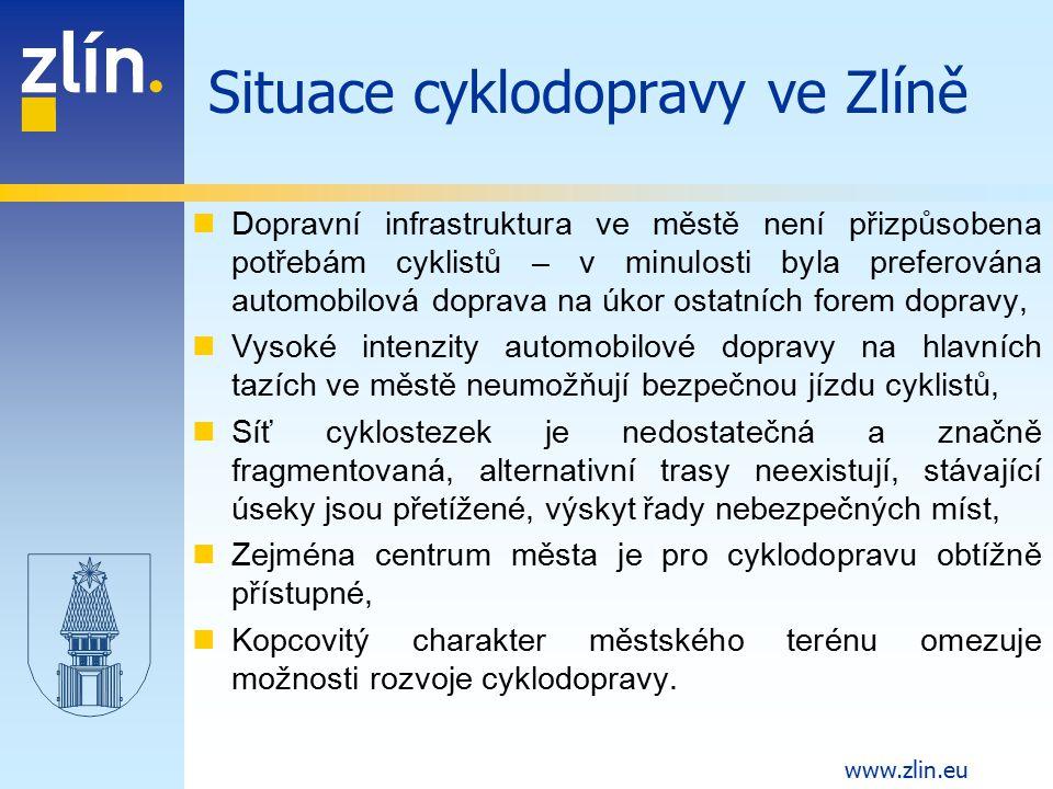 www.zlin.eu Dopravní infrastruktura ve městě není přizpůsobena potřebám cyklistů – v minulosti byla preferována automobilová doprava na úkor ostatních