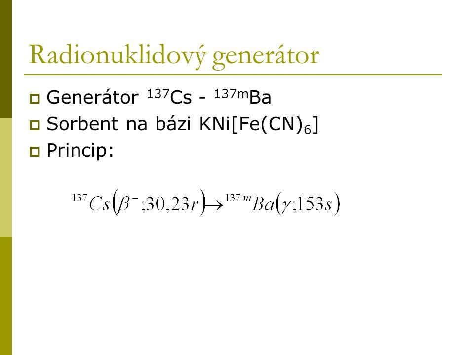 Radionuklidový generátor  Generátor 137 Cs - 137m Ba  Sorbent na bázi KNi[Fe(CN) 6 ]  Princip: