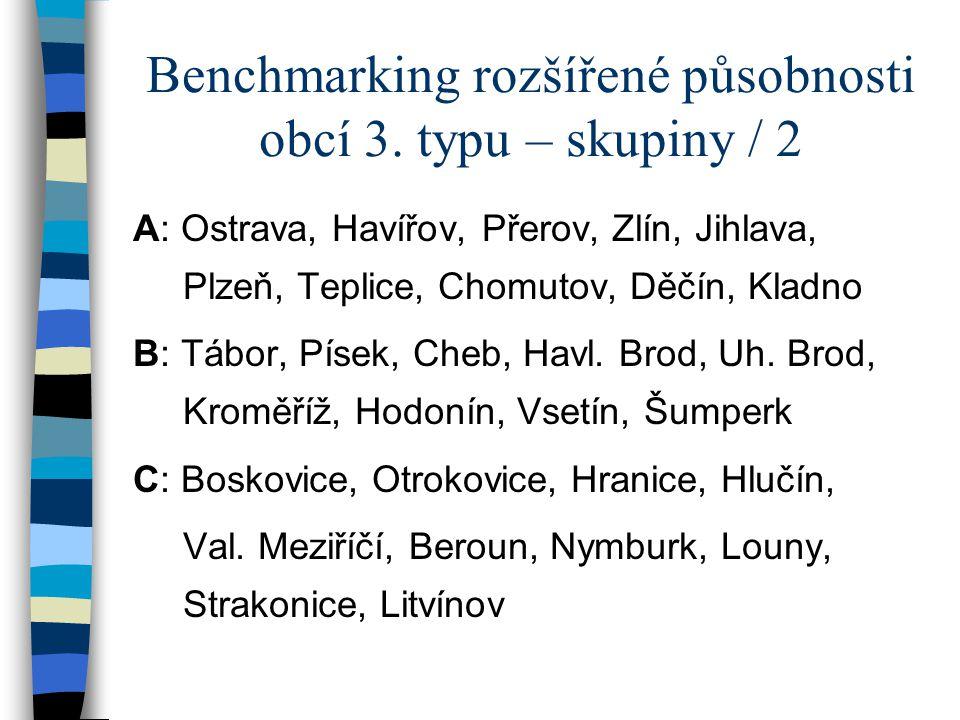 Benchmarking rozšířené působnosti obcí 3.typu – skupiny / 3 D: Žamberk, Vrchlabí, Přelouč, N.