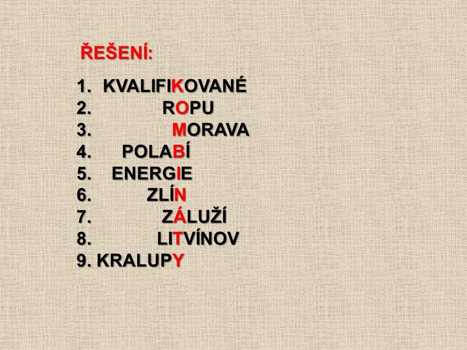 1.KVALIFIKOVANÉ 2.ROPU 3. MORAVA 4. POLABÍ 5. ENERGIE 6.