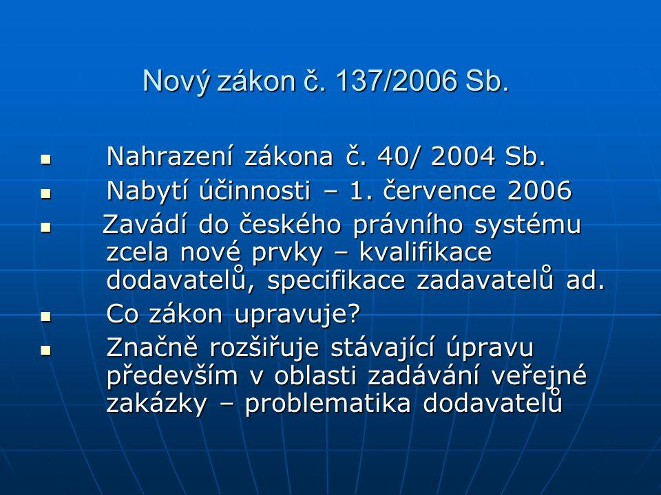 Nový zákon č. 137/2006 Sb. Nahrazení zákona č. 40/ 2004 Sb. Nahrazení zákona č. 40/ 2004 Sb. Nabytí účinnosti – 1. července 2006 Nabytí účinnosti – 1.