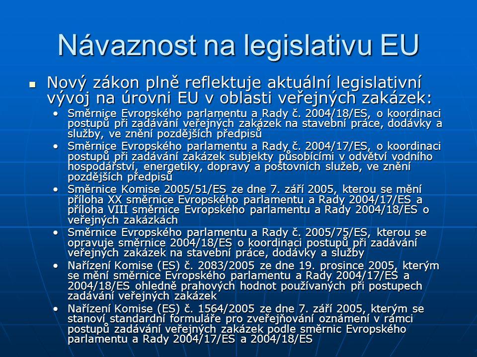 Návaznost na legislativu EU Nový zákon plně reflektuje aktuální legislativní vývoj na úrovni EU v oblasti veřejných zakázek: Nový zákon plně reflektuj