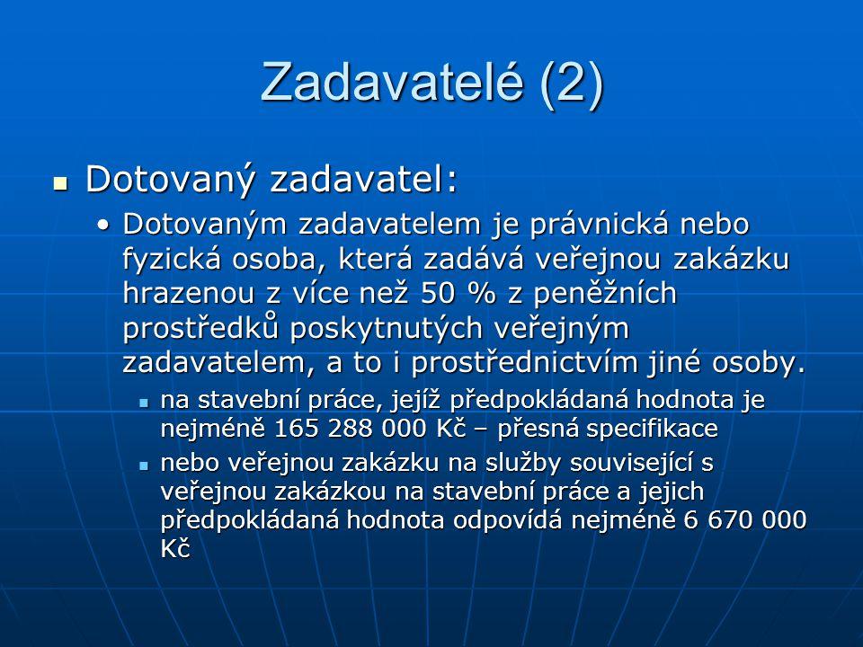 Zadavatelé (2) Dotovaný zadavatel: Dotovaný zadavatel: Dotovaným zadavatelem je právnická nebo fyzická osoba, která zadává veřejnou zakázku hrazenou z