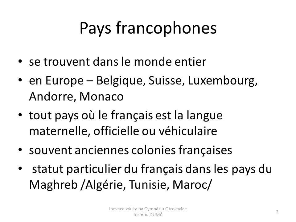 Pays francophones se trouvent dans le monde entier en Europe – Belgique, Suisse, Luxembourg, Andorre, Monaco tout pays où le français est la langue ma