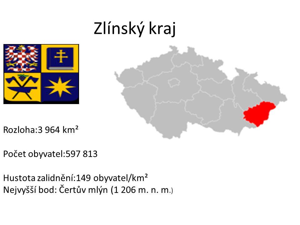 Zlínský kraj Rozloha:3 964 km² Počet obyvatel:597 813 Hustota zalidnění:149 obyvatel/km² Nejvyšší bod: Čertův mlýn (1 206 m.
