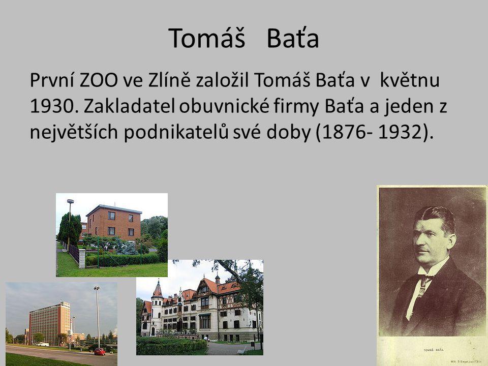 Tomáš Baťa První ZOO ve Zlíně založil Tomáš Baťa v květnu 1930.