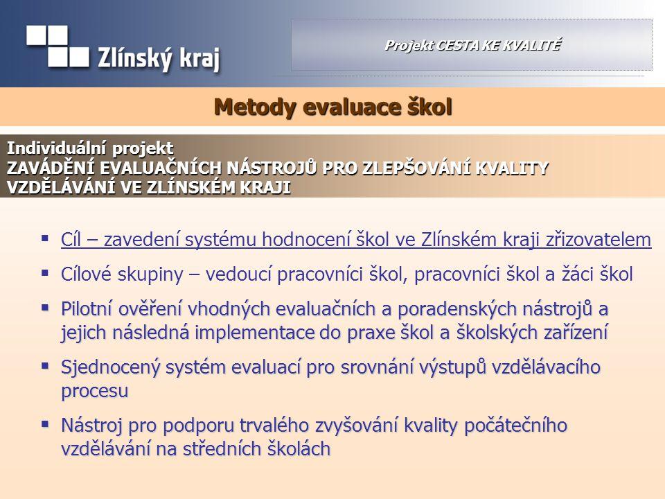  Cíl – zavedení systému hodnocení škol ve Zlínském kraji zřizovatelem  Cílové skupiny – vedoucí pracovníci škol, pracovníci škol a žáci škol  Pilot