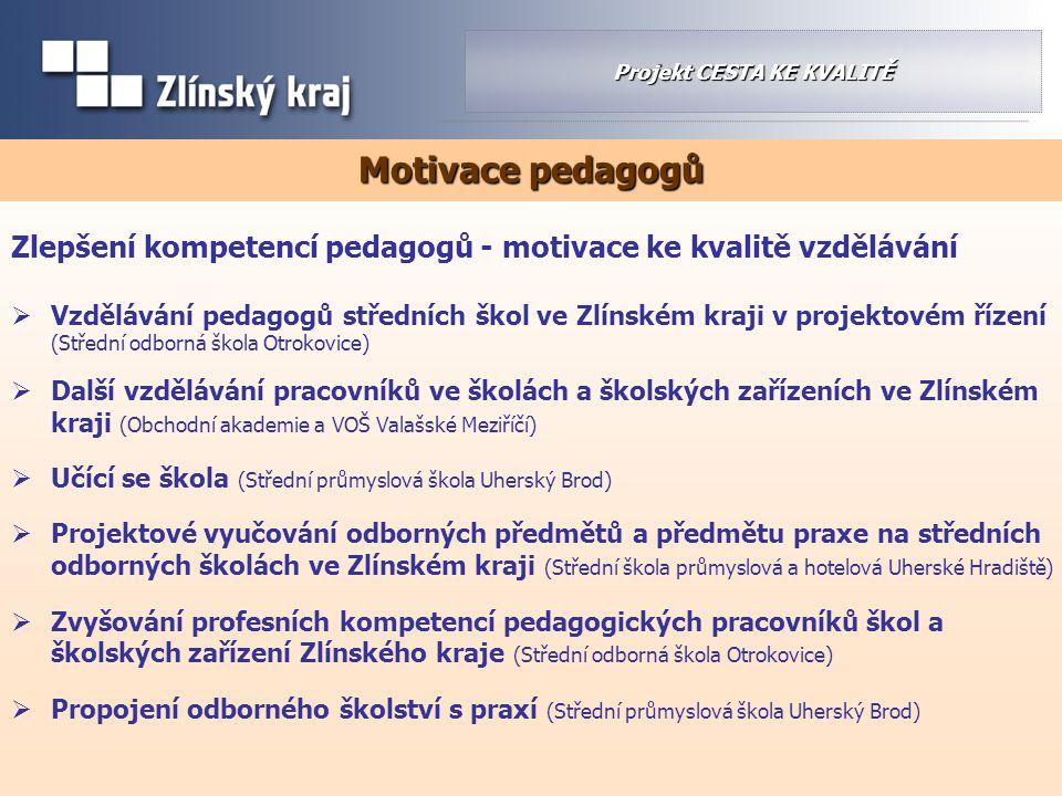 Zlepšení kompetencí pedagogů - motivace ke kvalitě vzdělávání  Vzdělávání pedagogů středních škol ve Zlínském kraji v projektovém řízení (Střední odb