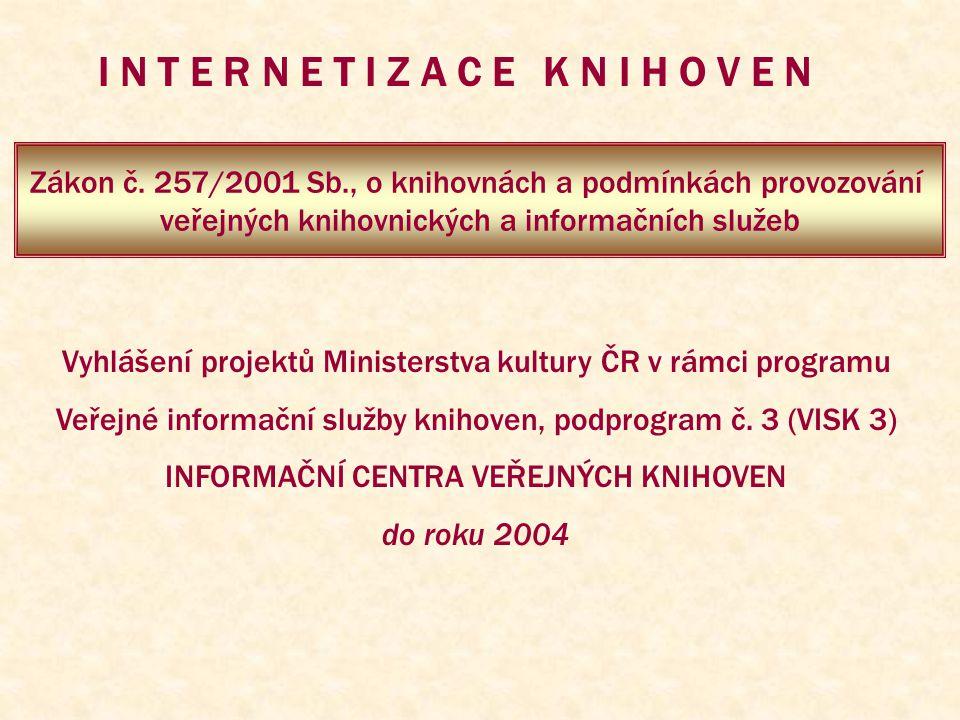 I N T E R N E T I Z A C E K N I H O V E N Zákon č. 257/2001 Sb., o knihovnách a podmínkách provozování veřejných knihovnických a informačních služeb V