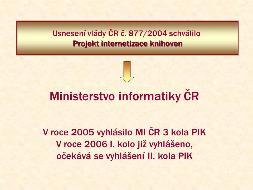 Projekt internetizace knihoven Usnesení vlády ČR č. 877/2004 schválilo Projekt internetizace knihoven V roce 2005 vyhlásilo MI ČR 3 kola PIK V roce 20
