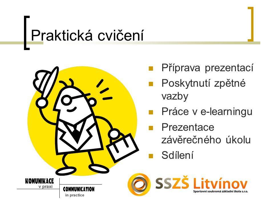 Praktická cvičení Příprava prezentací Poskytnutí zpětné vazby Práce v e-learningu Prezentace závěrečného úkolu Sdílení