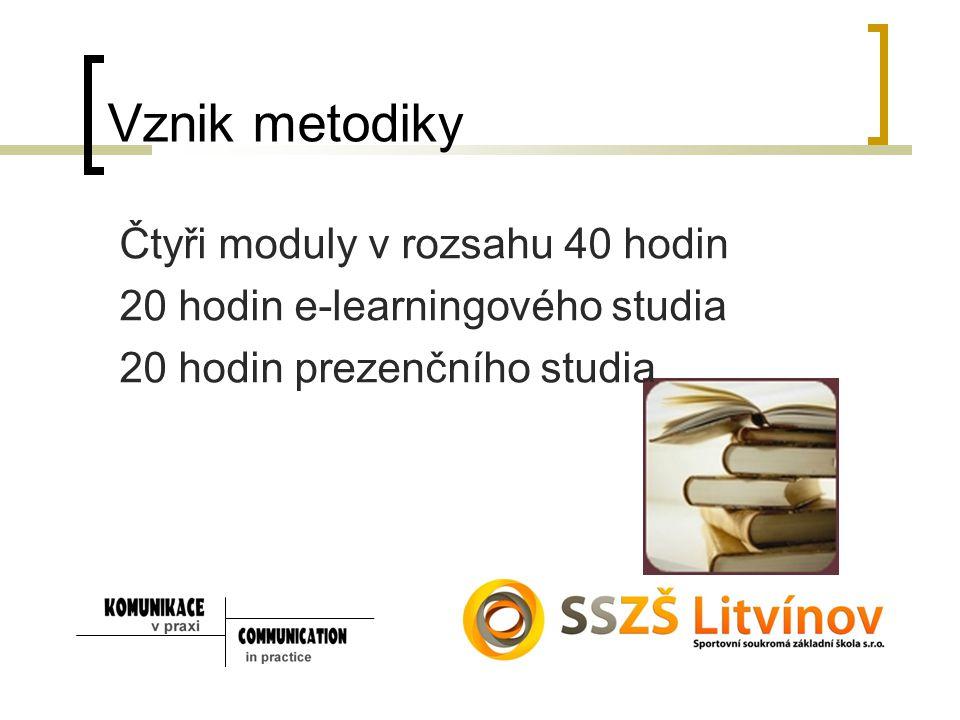 Vznik metodiky Čtyři moduly v rozsahu 40 hodin 20 hodin e-learningového studia 20 hodin prezenčního studia