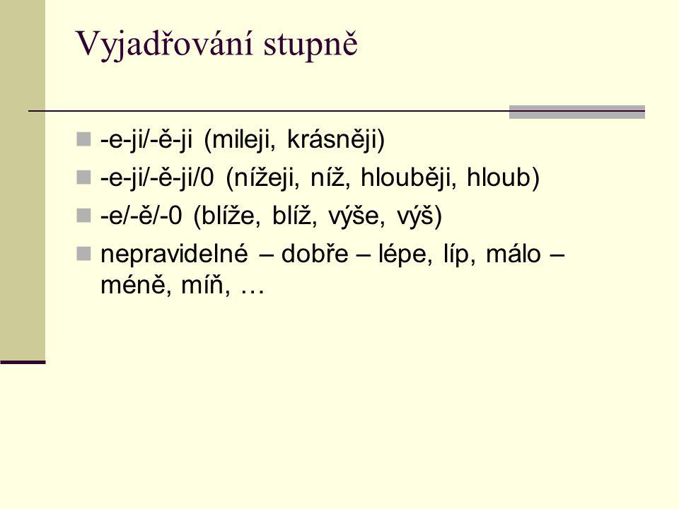 Vyjadřování stupně -e-ji/-ě-ji (mileji, krásněji) -e-ji/-ě-ji/0 (nížeji, níž, hlouběji, hloub) -e/-ě/-0 (blíže, blíž, výše, výš) nepravidelné – dobře – lépe, líp, málo – méně, míň, …