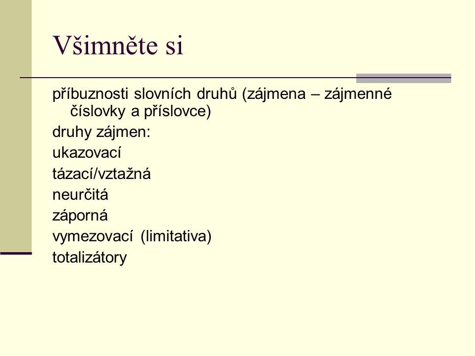 Všimněte si příbuznosti slovních druhů (zájmena – zájmenné číslovky a příslovce) druhy zájmen: ukazovací tázací/vztažná neurčitá záporná vymezovací (limitativa) totalizátory