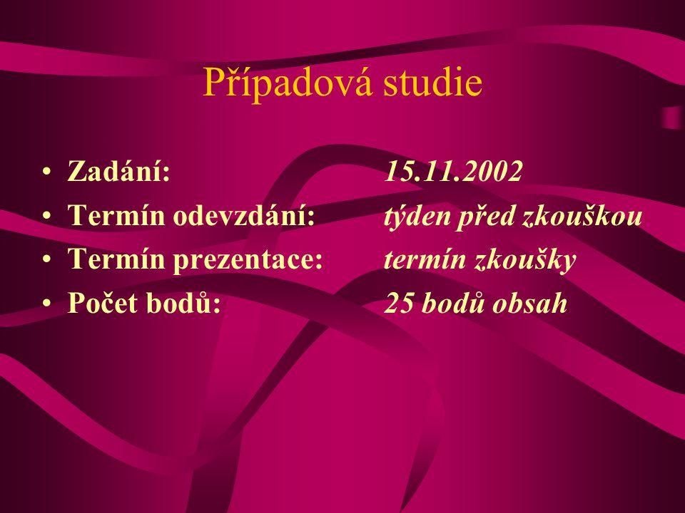 Případová studie Zadání:15.11.2002 Termín odevzdání: týden před zkouškou Termín prezentace:termín zkoušky Počet bodů:25 bodů obsah