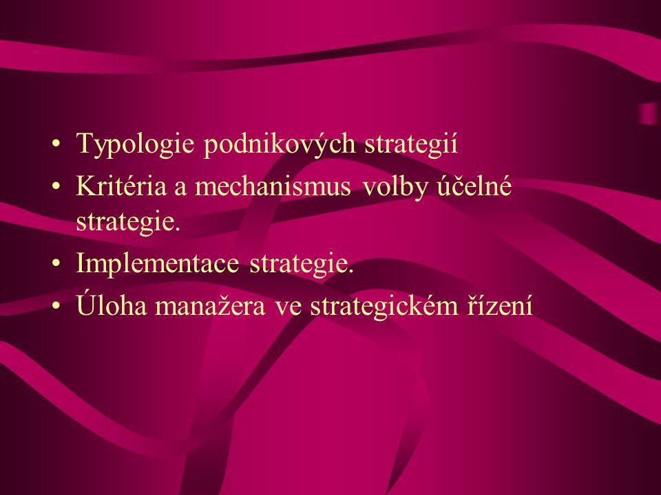 Typologie podnikových strategií Kritéria a mechanismus volby účelné strategie.