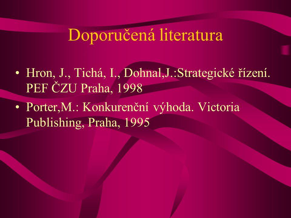 Doporučená literatura Hron, J., Tichá, I., Dohnal,J.:Strategické řízení.