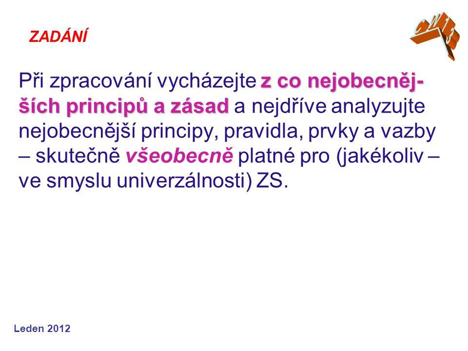 Leden 2012 ZADÁNÍ z co nejobecněj- ších principů a zásad Při zpracování vycházejte z co nejobecněj- ších principů a zásad a nejdříve analyzujte nejobecnější principy, pravidla, prvky a vazby – skutečně všeobecně platné pro (jakékoliv – ve smyslu univerzálnosti) ZS.